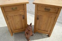 antique pine matching bedsides  left and right opening doors