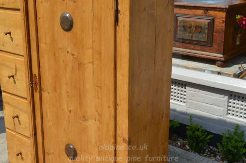 original old pine breadcupboard/larder cupboard with drawers - £645 genuine  old rustic piece, offering original fixed shelves inside, two vents on  front, ... - WWW.OLDPINE.CO.UK ~ Suppliers Of All Types Of Old, Antique, Hand