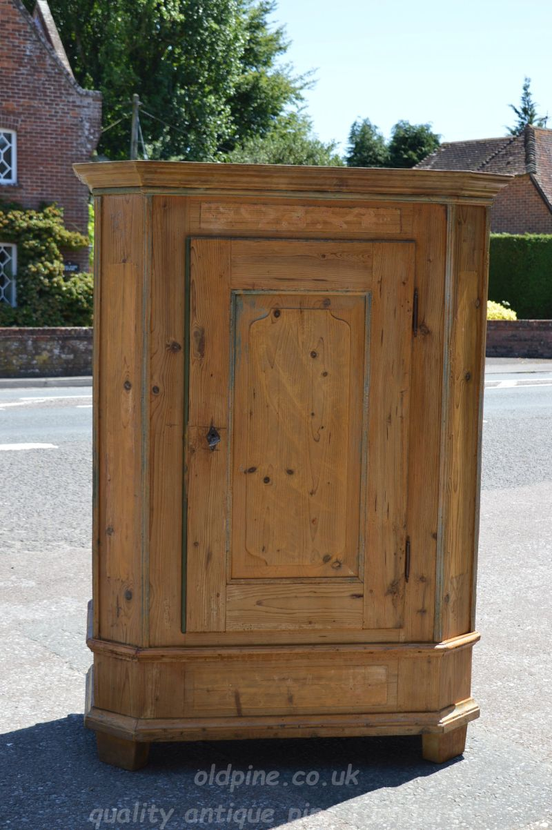 antique old pine one door coat cupboard/wardrobe- £799 2019 REDUCED TO  CLEAR - £675-bargain! canted sides, original peg/coat hooks inside - WWW.OLDPINE.CO.UK ~ Suppliers Of All Types Of Old, Antique, Hand