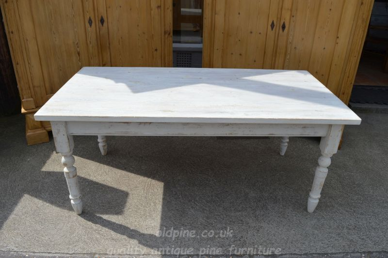 Vintage farmhouse painted table - £595 2019 REDUCED TO CLEAR - £495-bargain  (Stock ref: P3924) - 77cm(h)x183cm(w)x92cm(d) email to enquire about this  table - WWW.OLDPINE.CO.UK ~ Suppliers Of All Types Of Old, Antique, Hand