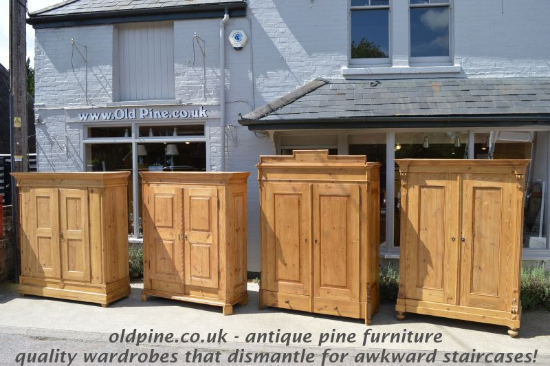 antique old pine one door coat cupboard/wardrobe- £799 canted sides,  original peg/coat hooks inside - WWW.OLDPINE.CO.UK ~ Suppliers Of All Types Of Old, Antique, Hand